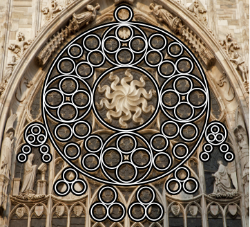 A Rose Window At The Milan Cathedral With Circle Designs Highlighted