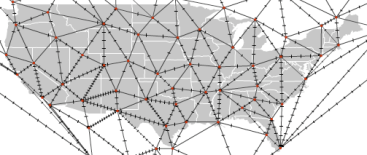 A Delaunay triangulation used to help create a weather map.