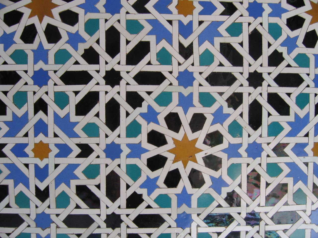 Example of Islamic geometry in mosaic tile art form