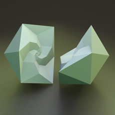 Two halves of an icosahedron.
