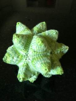 This knitted stellated icosahedron was made by Liza Goldberg, a high school math teacher. It's about four inches across. Anabeth Dollins is her mom!