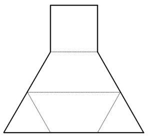 Print out two copies of this pattern, cut them out, and fold each along the dotted lines, making two identical solids. Then fit these two pieces together to make a regular tetrahedron.
