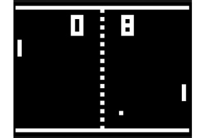 Pong, the oldest game many people are familiar with. 1-bit colors!