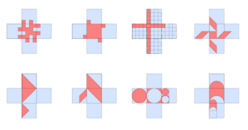 Six ways to quarter the cross pentomino. 94 more await you!